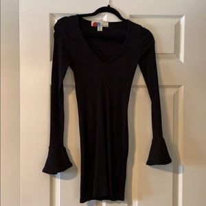 Free People Knit fitted dress, bell sleeve detail